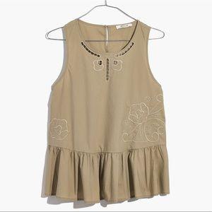madewell // embroidered peplum sleeveless top